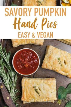 A tasty appetizer or side to serve this holiday season. These flaky vegan hand pies are filled with a savory pumpkin and zucchini filling plus vegan cheese and are so easy to make! #pumpkin #savory #handpies #zucchini #fallherbs #fall #appetizer #side #easy #party #tasty #easyvegan #musttry #kids #savoryfall #sweetsimplevegan #thanksgiving