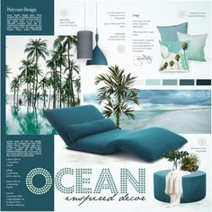 Ocean Inspired by nyrvelli on Polyvore featuring interior, interiors, interior design, home, home decor, interior decorating, Howard Elliott, Besa Lighting, Crate and Barrel and PLANT