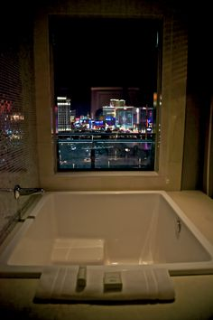 The view from the bathroom in the Cosmopolitan Hotel in Las Vegas. Photo by @Joey Lax-Salinas