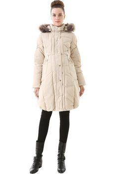 "Momo Maternity ""Minnie"" Hooded Down Puffer Coat - Beige S"
