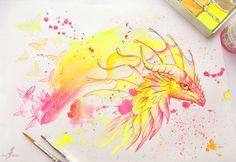 Dragon of Northern Lights - tattoo design by AlviaAlcedo on DeviantArt Art Drawings Beautiful, Beautiful Artwork, Cool Drawings, Fantasy Drawings, Fantasy Artwork, Northern Lights Tattoo, Pencil Drawings Of Animals, Watercolor Art, Fiction