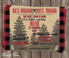 Lumberjack Birthday Invitation, He's Rough He's Tough, Flannel Party, First Birthday Invitation, Digital by MaxandMaeInvites on Etsy https://www.etsy.com/listing/245910920/lumberjack-birthday-invitation-hes-rough