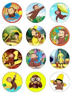 Curious George Edible Cupcake toppers 12 curious george birthday or baby shower edible images for any dessert. $6.50, via Etsy.