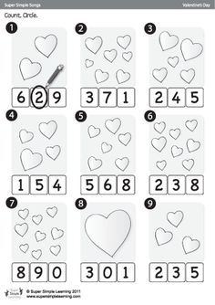 """Skidamarink"" Count & Circle Valentine's Day Worksheet from Super Simple Learning #preK #kindergarten #ESL"