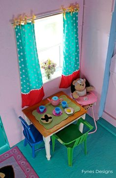 Cute playhouse interior- click to see the whole thing plus enter to win $1000 in craft supplies