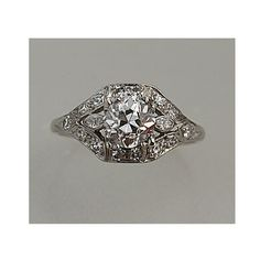 RESERVED RESERVED .95 Carat Diamond Antique Engagement Ring in Platinum