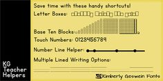 An AWESOME free font where you can make number lines, touch point numbers, letter boxes and more...