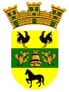 Escudo de Isabela Puerto Rico /The town's coat of arms, dated 1819, is divided an olive tree in its center, symbolizes the first inhabitants of Isabela and of the island of Puerto Rico, the Igneris Indians. The gold represents the Taíno Indians  who lived in this area about two hundred years before the discovery of the island. The gold bell in the center stripe between two cactus is a symbol of the town of San Antonio de la Tuna.....