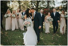 bride and groom with the bridal party. New Jersey Wedding Venue  Hair: Styles on Location | Makeup: Makeup by Samantha Linn | Florals: Crossed Keys Designs | Photo: Jessie Casey |  Venue: Crossed Keys Estate