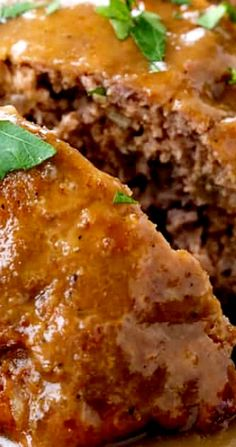 This Brown Gravy Meatloaf Recipe is the easiest meatloaf recipe ever! Every time we make this meatloaf it comes out perfectly, and we make it a lot! Meatloaf With Gravy, Good Meatloaf Recipe, Best Meatloaf, Meatloaf Recipes, Pork Chop Recipes, Fish Recipes, Gourmet Recipes, Crockpot Recipes, Cooking Recipes