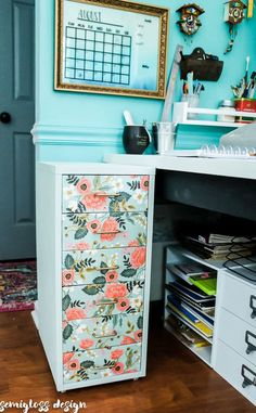 ikea helmer hack with rifle paper on drawers