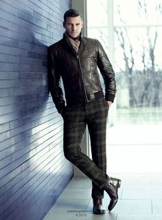 Fall Virginia Gold Cup Equestrian Looks | men's equestrian outfit, plaid pants, boots, brown leather bomber jacket, scarf | Divine Style