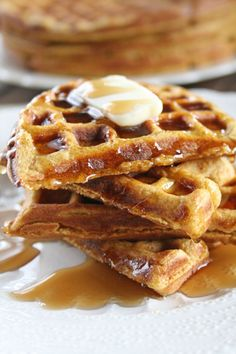 WHOLE WHEAT PUMPKIN WAFFLES - These look and sound incredible!  I like the how the maple and pumpkin flavors meld together.  I think some toasted pecans on top would be really good too!
