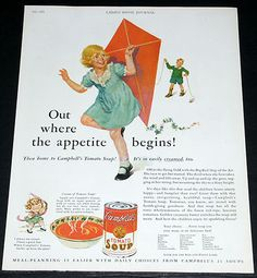 1931 OLD MAGAZINE PRINT AD, CAMPBELL'S TOMATO SOUP, KIDS FLYING A KITE ART WORK!