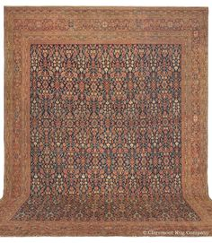 Sultanabad Oversize Rug in allover Herati blossom design on indigo reserve Antique Rug - Claremont Rug Company Persian Carpet, Persian Rug, Best Carpet For Basement, Southwestern Area Rugs, Carpet Cover, Rug Company, Rugs On Carpet, Antiques, Indigo