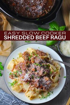 This is my easy, made-for-busy-moms, delicious Shredded Beef Ragu Recipe! It's made with beef chuck, so it's affordable and easy to work with. It's also a beef ragu without wine, but instead gets that acidic backdrop from Balsamic Vinegar. And it's easy for busy moms because it's made in a slow cooker! Just toss all ingredients in, set for 6-8 hours, shred the beef, and that's it! #beefragu #meatsauce #ragurecipe #easyfamilydinners #dinnerideas #slowcooker #crockpot Best Slow Cooker, Slow Cooker Recipes, Beef Ragu Recipe, Fall Recipes, Dinner Recipes, Slow Cooker Shredded Beef, Food Dishes, Main Dishes, Easy Family Dinners
