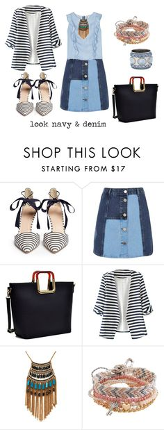 """""""look navy & denim"""" by aliciagorostiza ❤ liked on Polyvore featuring J.Crew, River Island, Dasein, WithChic, Leslie Danzis, Aéropostale and Chico's"""
