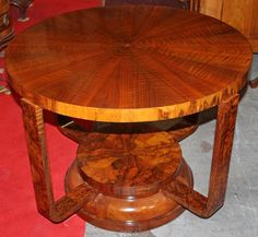 Table, Art Deco, walnut, 1920 - 58 cm x 78 cm x 78 cm (h x w x d), www. Bedside Tables, Antique Furniture, Coffee Tables, Art Deco, Dining Table, Antiques, Home Decor, Nightstands And Bedside Tables, Antiquities