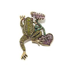"Heidi Daus ""Leap Frog"" Crystal-Accented Pin - 7598084 