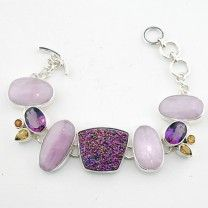 Silver Bracelet With Druzy, Pink Kunzite, Faceted Amethyst, And Citrine Gemstones