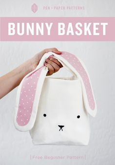 DIY Bunny Easter Basket - FREE Sewing Pattern / Tutorial