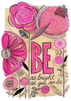 be as bright as you can be - 9 x 12 - original collage drawing - Susan Black Kunstjournal Inspiration, Art Journal Inspiration, Mix Media, Mixed Media Art, Art Journal Pages, Art Journals, Art Doodle, Tableau Pop Art, Art Tumblr