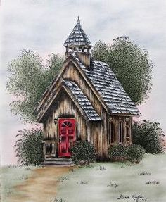 """""""Wayside Chapel"""" located in Pigeon Forge, Tenn. This is a Pen & Ink with Oil… Old Country Churches, Old Churches, Painting On Wood, Painting & Drawing, Church Pictures, Barn Pictures, Country Paintings, Barn Paintings, Wood Burning Art"""