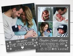 The More the Merrier Christmas Card, Birth Announcement Christmas Card, Christmas Photo Card, Birth Announcement,  DIY or Printed by NOLALOULOU on Etsy