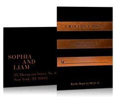 Ombra Invitation Suite in Sunset / Black & Copper / Metallic Foil / Editorial Design / Bliss & Bone