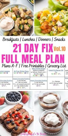 A 21 Day Fix Meal Plan to help keep your goals on track during the warmer weather months. This complete ultimate portion fix meal plan contains breakfast, lunch, dinner, and snacks, for ALL 21 Day Fix Plans A-F, plus prep tips and an itemized printable grocery list! Clean Eating Meal Plan, Clean Eating Recipes, Healthy Eating, Healthy Recipes, Healthy Meals, Fixate Recipes, Diet Meals, Delicious Meals, Diet Recipes