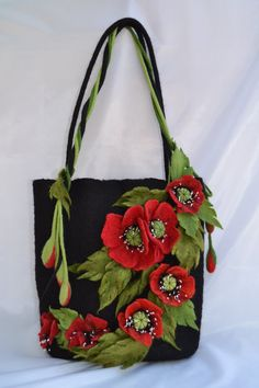 Summer outdoors Handmade Wool bag felted flower art