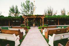 DIY Wedding Decor | Ceremony | Church Pew Seating | Wedding Photography | Rustic Country Wedding | Shenandoah Mill | Arizona Wedding