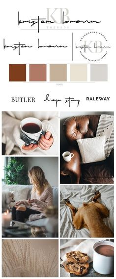 Therapy and intuitive therapist branding cozy neutral brown toned branding board with logo, color palette, fonts and cozy mood board Web Design, Website Design, Design Color, Self Branding, Branding Kit, Hotel Branding, Branding Ideas, Corporate Branding, Brand Identity Design