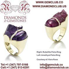 Right-Rubellite Petra Ring, Left-Amethyst Petra Ring. Courtesy of Kara Ross  #DiamondClub & #GemClub #Appraiser #Appraisal #Diamond #Gemstones #Jewelry #Watch #Antiques #Pearl #Ruby #Sapphire #Emerald #Gold #Silver #Platinum #Palladium #Luxury #Earrings #Ring #Bracelet #Pendant #Necklace #Brooch #Wedding #Anniversary #Valentine