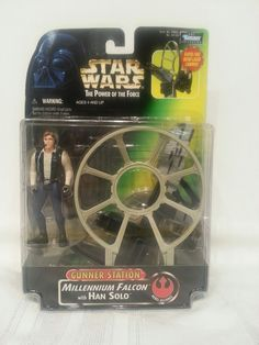 Star Wars The Power of the Force Gunner Station Millennium Falcon with Han Solo #Hasbro