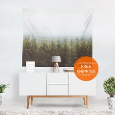Wall tapestry forest wall hanging mountain home decor