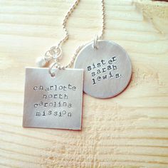 LDS missionary necklace, customized hand stamped, personalized jewelry. $27.00, via Etsy.