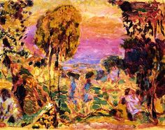 """Violet Countryside Pierre Bonnard - 1946 quote by Joaquin Sorolla: """"With all its excesses, the modern impressionistic movement has given us one discovery, the color violet. It is the only discovery of importance in the art world since Velazquez."""""""
