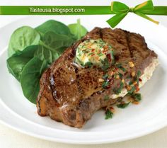 stuffed sirloin steak with chile and parsley butter