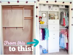 Turn your closet from nonfunctional to organized in less than 3 hours! There's so much toy storage in the new layout!
