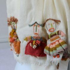 "Large merino wool Sophie Digard scarf - ""MLF"""