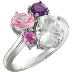14kt white gold white topaz, amethyst, pink topaz, and Chatham Created pink sapphire cluster ring. Find it at a jeweler near you: www.stuller.com/locateajeweler