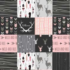 Adventure Awaits Woodland Patchwork Nursery Quilt Fabric By The Yard Black Red Cheater Cotton Baby Boy Bear Moose Minky In 2018 Crafts