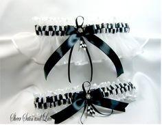 CHECKERED FLAG racing wedding garters white by SheerSatinandLace, $27.99