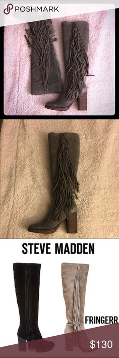 Price ⬇️Steven madden boots  Add some movement to your ensemble with the FRINGERR tall-shaft suede boot.  Long fringe strands adorn the outside of the boot while a chunky block heel lends support.  Pair these with jeans and a sweater and you can't go wrong.  Suede upper material Man-made lining Man-made sole 3.75 inch heel height 15.25 inch shaft circumference 16.25 inch shaft height Functional inside zipper Steve Madden Shoes