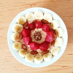 Strawberry-vanilla oatmeal with banana,strawberry,almond and walnut