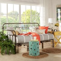 TRIBECCA HOME Giselle Antique Graceful Lines Iron Metal Daybed by Tribecca Home