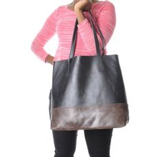 Image of Leather tote bag for women  brown