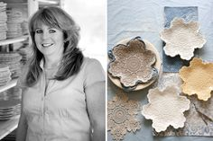 Maggie Weldon's artistic lace pottery seems a tailor-made expression of her soul. See our tutorial for creating your own lace pottery.