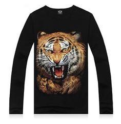 Mens stampa shirts animal teschio di tigre wolfs girocollo top tee t shirt m-xxxl Branded T Shirts, Printed Shirts, Custom Shirts, 3d Shirts, Casual T Shirts, Casual Tops, Comfy Casual, Vetement Hip Hop, T Shirt 3d